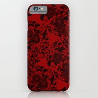 iPhone & iPod Case featuring Chrysanthemum II Black on Red by Bel Menpes