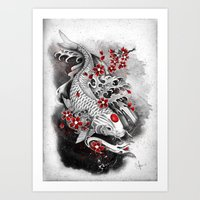White Koi and sakuras Art Print