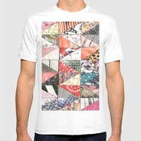 patchwork Mens Fitted Tee White SMALL