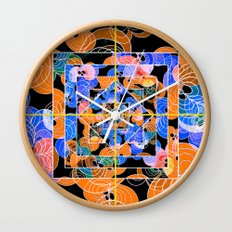 Abstract Flower Pattern Orange Black and Blue Wall Clock