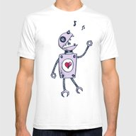 Happy Cartoon Singing Ro… Mens Fitted Tee White SMALL