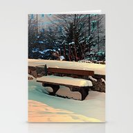 Snow Covered Bench Stationery Cards