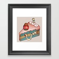 SWEET WORMS 3 - strawberry cake Framed Art Print