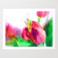 Harborough Tulips - Wate… Art Print
