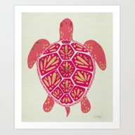 Art Print featuring Sea Turtle – Pink & Go… by Cat Coquillette