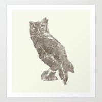 Wood Grain Owl Art Print