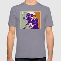Cameraman Film Crew Vintage Video Movie Camera Mens Fitted Tee Slate SMALL