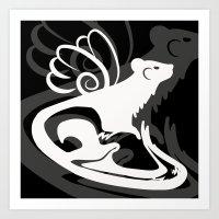 Winged Ferret (White) Art Print