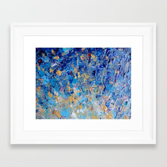HYPNOTIC BLUE SUNSET - Simply Beautiful Royal Blue Navy Turquoise Aqua Sunrise Abstract Nature Decor Framed Art Print