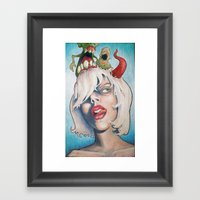 Girl With The Horn Framed Art Print