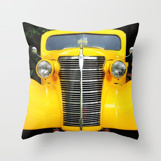 Yellow Chevy Throw Pillow