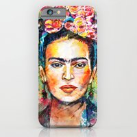 woman iPhone & iPod Cases featuring Frida Kahlo by Tracie Andrews
