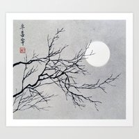 midnight full moon Art Print