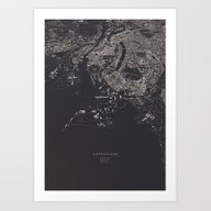Copenhagen City Map Art Print