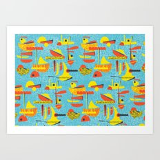 Abstract Boats inspired by midcentury 1950s design Art Print