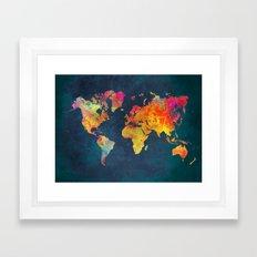 World Map blue Framed Art Print