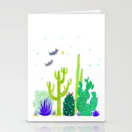 Watercolour Cactus & Bat… Stationery Cards