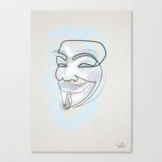 One line mask: V Canvas Print