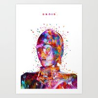 Droid White Art Print