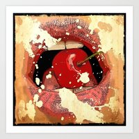 Red Cherry Lips Art Print