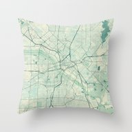 Dallas Map Blue Vintage Throw Pillow
