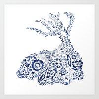 Folk Floral Indigo Deer Art Print