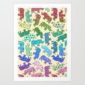 Rhino Patchwork Pattern - rainbow Art Print