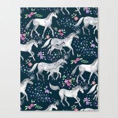 Unicorns and Stars on Dark Teal Canvas Print