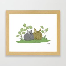 Woodland Rabbits. Framed Art Print