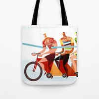 Bicycle Tour de France Tandem for Three Tote Bag