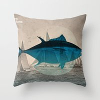 Northern Bluefin Throw Pillow