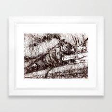 Steam train sepia Framed Art Print