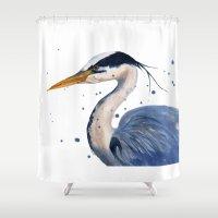 HERON Art Print, Heron P… Shower Curtain