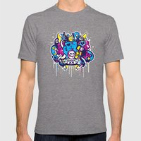 Unlucky Kitty Mens Fitted Tee Tri-Grey SMALL