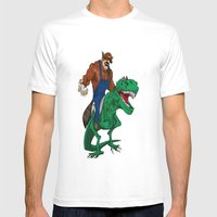 Raccoon Dino Rider.... Mens Fitted Tee White SMALL