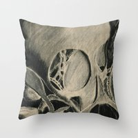 Skull In Scrapyard Throw Pillow