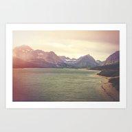 Art Print featuring Retro Mountain Lake by Kurt Rahn