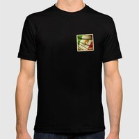 STICKER OF MEXICO Flag Mens Fitted Tee Black SMALL