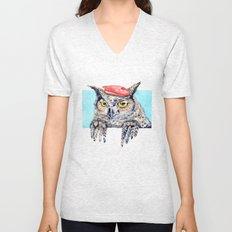 Serious Horned Owl in Red Beret  Unisex V-Neck