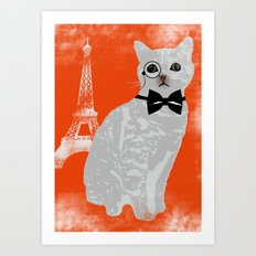 Wise cat with bow and tie Art Print