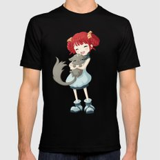 Girl and a Cat SMALL Mens Fitted Tee Black