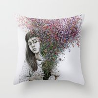 I tried to draw my soul but all I could think of was flowers Throw Pillow