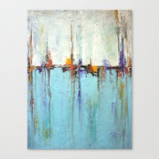 """Abstract White and Blue Painting – Textured Art – """"Sailing""""  Canvas Print"""