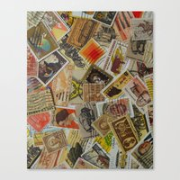 Vintage Postage Stamp Collection - Orange Canvas Print