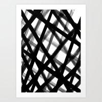 Criss Cross Black And Wh… Art Print
