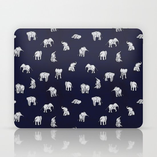 Indian Baby Elephants in Navy Laptop & iPad Skin