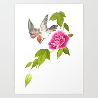 sparrow and peony Art Print