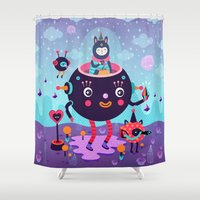 Amigos cósmicos Shower Curtain