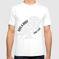 GIVE A HOOT, DON'T LOOT! SMALL Mens Fitted Tee White