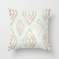 Throw Pillow featuring Mint & Coral Tribal Patt… by Dani